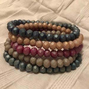 Accessories - Set of 5 earth tone sugar stack bracelets